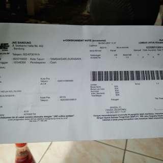 Resi jne ke Surabaya