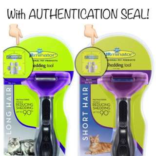 AUTHENTIC FURminator Long Hair or Short Hair deShedding Tool for Cats Large