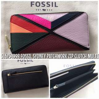 SL6754998 FOSSIL SYDNEY PATCHWORK ZIP CLUTCH MULTI