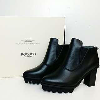 Rococo 17年秋季黑色高跟皮靴