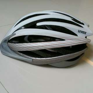 """Uvex Cycle Race Helmet, Highest Top End Model FP 3 CC, Made In Germany, White Silver Matte Colour, Professional Premium Quality, Superb Tournament Build, Safety in Bike Riding, Shield for Peace of mind, Size Medium 15"""" 53 - 56 cm,"""