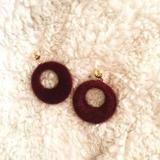 1 LEFT!!! Maroon Fur Round Hoop Earrings