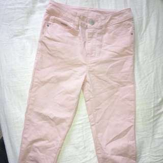 Pink high waisted Jeans size 8