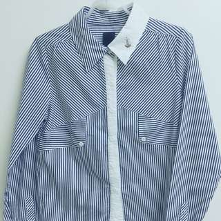 Gozo 深藍條紋襯衫 專櫃購入