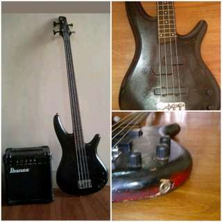 Ibanez Bass Guitar (japan made) with Ibanez amp