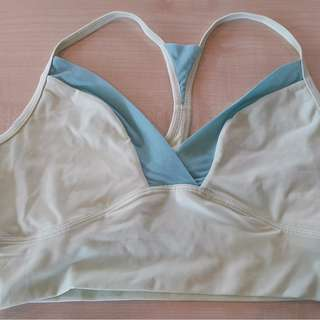 Lightly Used Nike Pale Yellow Sports Bra Size L Yoga Running