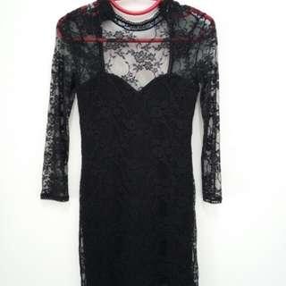 H&M Black Lace Medi Dress