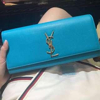 Ysl 牛皮 藍色 clutch 手拎袋