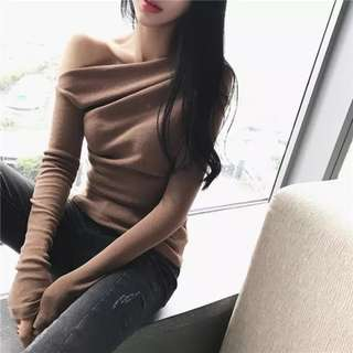 Asymmetric Off Shoulder Long Sleeve Top