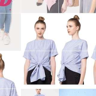 Blue-white striped top