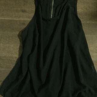 Ally top sheer black zip detail size 10/12