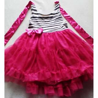 (Preloved Item) Zebra Tutu Dress Size 100 (3Y)