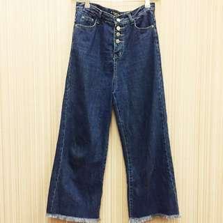 高腰排釦長寬褲