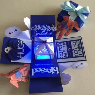 Baymax graduation Explosion Box With Lighthouse & 4 Personalized Photos in Navy & white