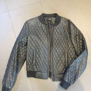 Oasis Faux Leather Quilted Bomber Jacket Cropped