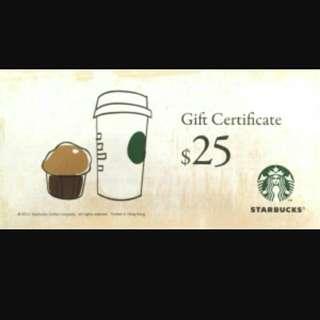 Starbucks Cash Coupon $25 (13 張)