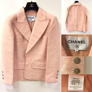 Chanel pink with white ruffles sleeves jacket size 40