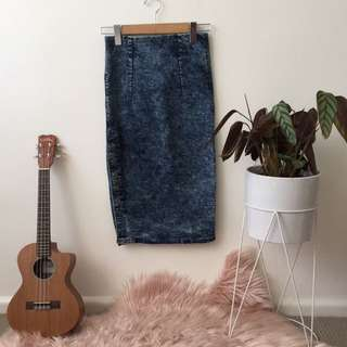 Dolls de luxe acid wash Wiggle skirt