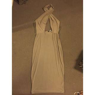 Cross-front Khaki Dress
