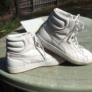 Men's Puma White Hightop Sneakers Size US10/UK9