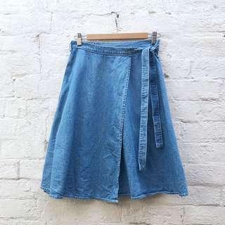 MINKPINK Size 10 denim wrap Midi Skirt