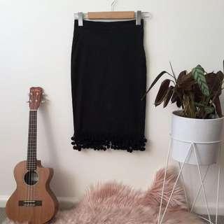 Revival black Wiggle skirt with Pom poms
