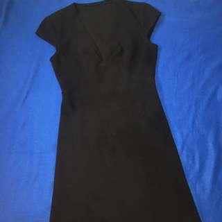 Black cropped sleeve dress