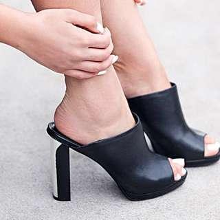 SALE Wittner Sz 8 Black Mule Heels