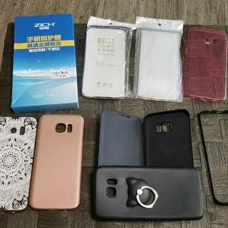 Samsung s7 edge手機套數個及兩塊防藍光貼