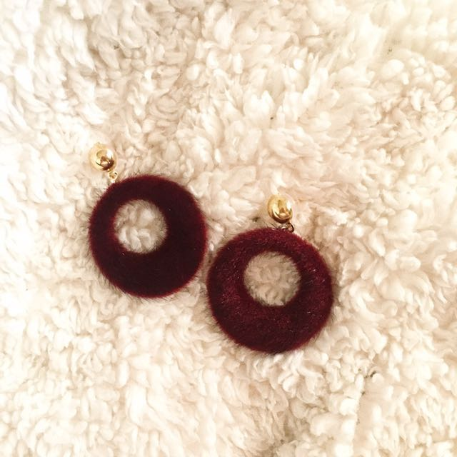 1 LEFT!!! Maroon Fur Round Hoop Earrings
