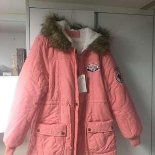 Pink bomber jacket with fur hood