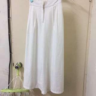 全新-白色寬長褲