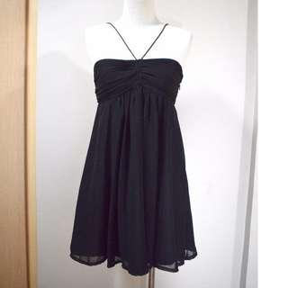 Pleated Black Crepe Halter Mini Dress