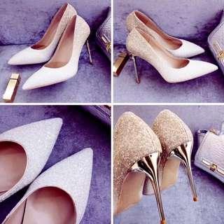 超高跟 漸層亮片 閃亮白金色婚鞋