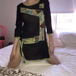 Green & Black Mesh Dress