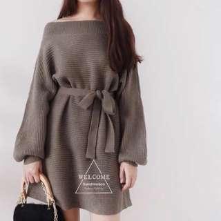 「新品推薦」韓版時尚百搭一字領燈籠袖收腰綁帶連衣裙