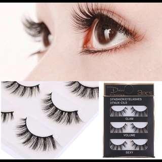 3 Pairs Sexy Black Makeup 3D Stereo False Eyelashes Thick Natural Bushy Cross Eyelashes
