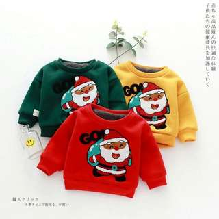 聖誕老人加絨加厚半高領衣 66/73/80/90/100 紅/黃/墨綠