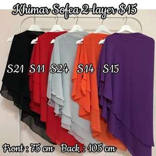 Khimar Sofea 2-layer