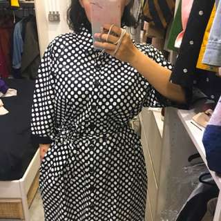 Corsage 白點黑底洋裝 外套 收腰 台灣自創品牌
