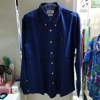Vintage YSL indigo button down shirt
