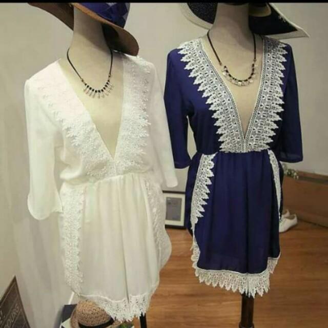 波希米亞風連身寬褲裙(藍)