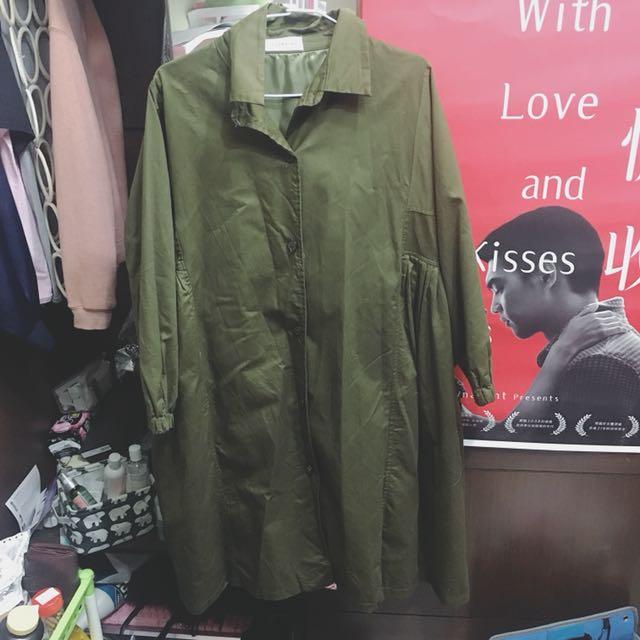 韓版軍綠色洋裝