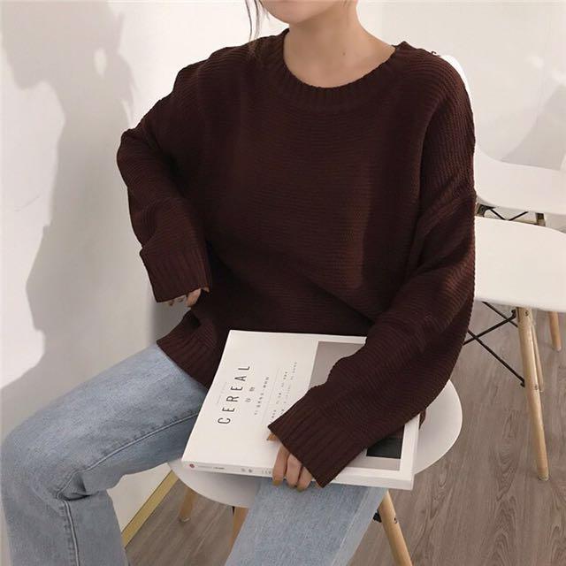 圓領壓紋寬毛衣