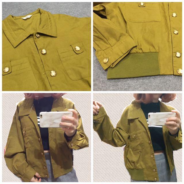 🐻土黃綠色古著外套