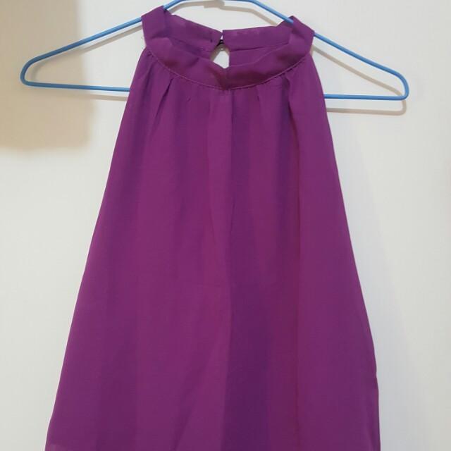 *全新紫色削肩背心小可愛薰衣草紫上衣