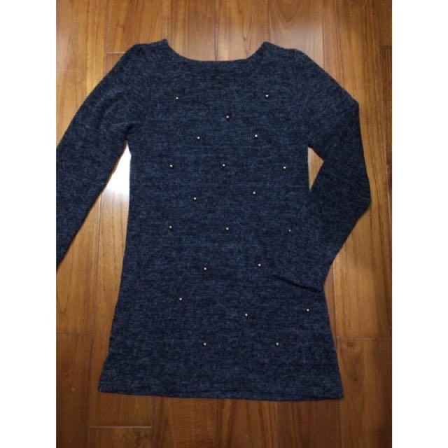 古著/復古/珠珠/可愛/保暖/日系  長版針織毛衣