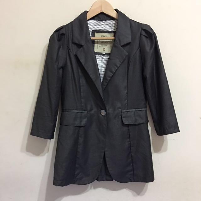 深灰七分袖一扣長版西裝外套 #我的女裝可超取