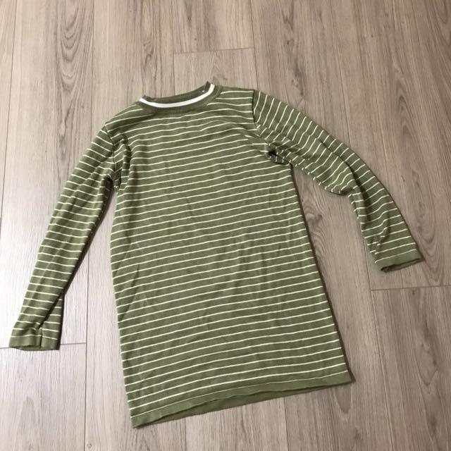 條紋綠長版上衣 #我的女裝可超取