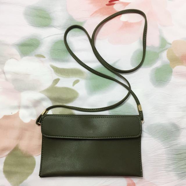 墨綠側背包 手拿包